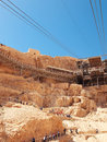 Cable car in fortress masada israel sunny day Royalty Free Stock Image