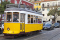 Cable car in lisbon typical tram portugal Royalty Free Stock Photo