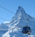 Cable car and Matterhorn Stock Photography