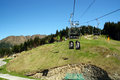 Cable car on mountain and luge track in view Royalty Free Stock Photography