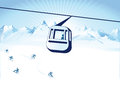Cable car over ski slope illustration of a a mountain Stock Images