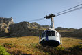 Cable car to a high mountain table in cape town south africa Stock Images