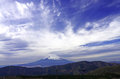Cable car with wide angle Fuji mountain background, Fuji Hakone Royalty Free Stock Photo