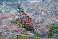 Cable cars over the city Grenoble. Stock Photo
