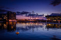 Cable cars in the sunset at royal victoria docks london Royalty Free Stock Photo