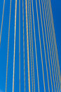 Cable stayed bridge closeup of at the blue sky Stock Images