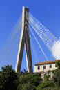 Cable stayed bridge with house in dubrovnik Royalty Free Stock Images