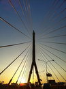 Cable stayed bridge silhouette in bangkok Stock Images