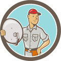 Cable tv installer guy cartoon illustration of a holding satellite dish viewed from front set inside circle done in style on Stock Photography