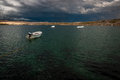 Cable wakeboard park before storm for wakeboarding on pag croatia Royalty Free Stock Images