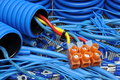 Cables and electrical component blue Stock Image