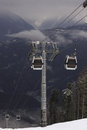 Cableway in caucasian mountains at winter Stock Photo