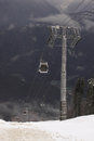 Cableway in caucasian mountains at winter Royalty Free Stock Photography