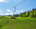 Cableway in the mountains ski lift Stock Image