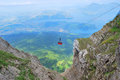 Cableway in swiss alps to mount pilatus Royalty Free Stock Image