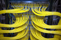 It cabling yellow of hardware in a server rack Royalty Free Stock Photo