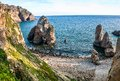 Cabo da roca cape forms the westernmost point of both mainland portugal and mainland europe the cape is in sintra west of Stock Image