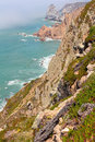 Cabo da roca cliffs and sea extreme western cape of european continent Royalty Free Stock Photo