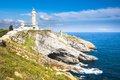 The cabo mayor lighthouse near city of santander spain with cliffs sky and sea Royalty Free Stock Photo