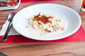 Cabonara spaghetti Royalty Free Stock Images