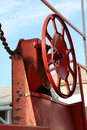 Caboose brake wheel the bright red on an old Stock Photos