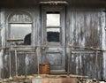 Caboose door background grunge weathered wood Stock Photo