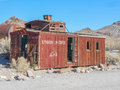 Caboose in rhyolite nevada ruins the ghost town of death valley usa Stock Images