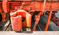 Caboose train couplings old orange close up Royalty Free Stock Image