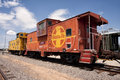 Cabooses of the santa fe railroad two retired from in arizona Royalty Free Stock Photos