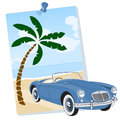Cabriolet car coming out of a poster on road near the beachcoming Royalty Free Stock Image