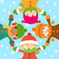 Cabritos que celebran nieve Imágenes de archivo libres de regalías