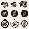 Cacao beans label and icons set vector Stock Photo