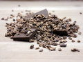 Cacao nibs raw crushed beans Royalty Free Stock Photo