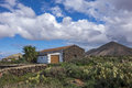 Cacti and mountain view la oliva fuerteventura las palmas canary islands spain with deserted building Royalty Free Stock Images