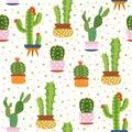 Cacti seamless pattern. Spiky cactus, desert plants bright repeated texture cute flower print aloe vera botanical vector