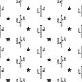 Cactus desert black and white seamless pattern. Striped cacti stars.