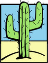 Cactus in the desert vector illustration Stock Photography