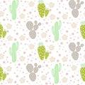 Cactus desert vector seamless pattern. Green and grey nature fabric print texture.