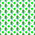 Cactus dots seamles repeat pattern