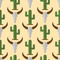 Cactus nature desert flower mexican succulent tropical plant cow skull seamless pattern cacti floral illustration. Royalty Free Stock Photo