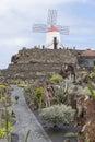 Cactus garden in lanzarote wide view of the jardin de designed by cesar manrique guatiza canary islands spain Royalty Free Stock Image