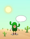 Cactus man on the deserts an illustration of wearing costume desert done by software Stock Images