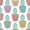 Cactus in ornamental pots seamless pattern
