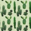 Cactus Plant Seamless Pattern. Exotic Tropical Summer Botanical Background. Royalty Free Stock Photo