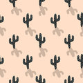 Cactus plant vector seamless pattern. Abstract cartoon blush color desert fabric print. Royalty Free Stock Photo