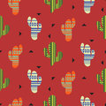Cactus plant vector seamless pattern. Mexican style color cacti textile print.