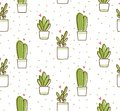 Cactus seamless pattern in kawaii doodle style vector illustration