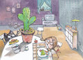 Cactus on table