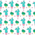 Cactuses seamless pattern. Royalty Free Stock Photo
