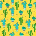 Cactuses seamless pattern on a yellow background. Royalty Free Stock Photo
